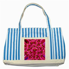Dahlia Flowers Pink Garden Plant Striped Blue Tote Bag