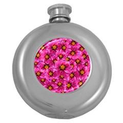 Dahlia Flowers Pink Garden Plant Round Hip Flask (5 oz)