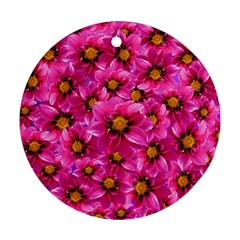 Dahlia Flowers Pink Garden Plant Round Ornament (Two Sides)