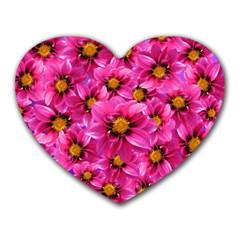 Dahlia Flowers Pink Garden Plant Heart Mousepads