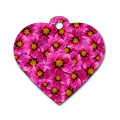 Dahlia Flowers Pink Garden Plant Dog Tag Heart (One Side)