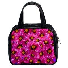 Dahlia Flowers Pink Garden Plant Classic Handbags (2 Sides)