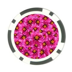 Dahlia Flowers Pink Garden Plant Poker Chip Card Guard (10 Pack)