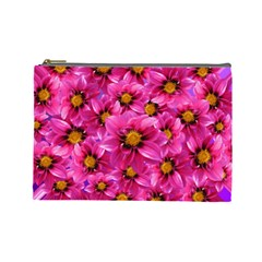 Dahlia Flowers Pink Garden Plant Cosmetic Bag (Large)