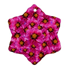 Dahlia Flowers Pink Garden Plant Snowflake Ornament (Two Sides)
