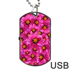Dahlia Flowers Pink Garden Plant Dog Tag USB Flash (One Side)