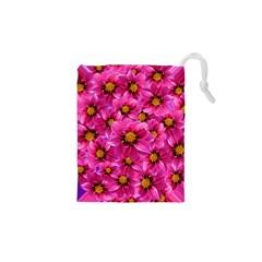 Dahlia Flowers Pink Garden Plant Drawstring Pouches (XS)
