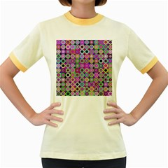 Design Circles Circular Background Women s Fitted Ringer T-Shirts
