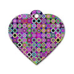 Design Circles Circular Background Dog Tag Heart (One Side)