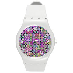 Design Circles Circular Background Round Plastic Sport Watch (M)
