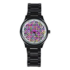 Design Circles Circular Background Stainless Steel Round Watch