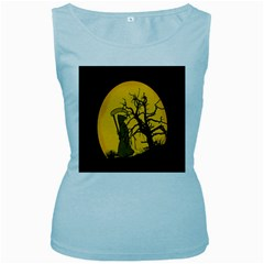 Death Haloween Background Card Women s Baby Blue Tank Top