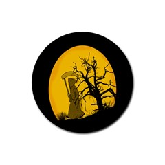 Death Haloween Background Card Rubber Coaster (Round)
