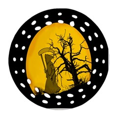 Death Haloween Background Card Round Filigree Ornament (Two Sides)