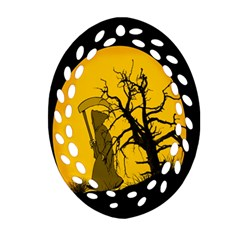 Death Haloween Background Card Oval Filigree Ornament (Two Sides)