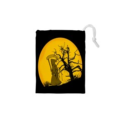 Death Haloween Background Card Drawstring Pouches (XS)