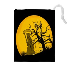 Death Haloween Background Card Drawstring Pouches (Extra Large)