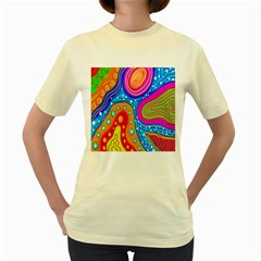 Doodle Pattern Women s Yellow T-Shirt