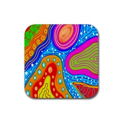 Doodle Pattern Rubber Square Coaster (4 Pack)