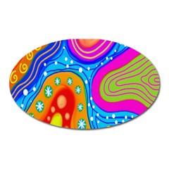 Doodle Pattern Oval Magnet