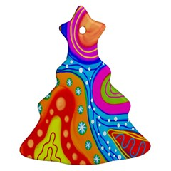 Doodle Pattern Christmas Tree Ornament (Two Sides)