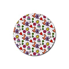 Doodle Wallpaper Rubber Round Coaster (4 pack)