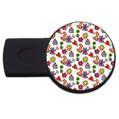Doodle Wallpaper USB Flash Drive Round (4 GB)