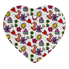 Doodle Wallpaper Heart Ornament (Two Sides)