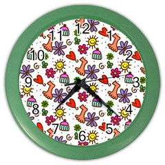Doodle Wallpaper Color Wall Clocks