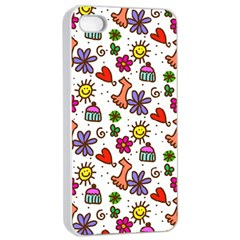 Doodle Wallpaper Apple iPhone 4/4s Seamless Case (White)