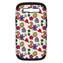 Doodle Wallpaper Samsung Galaxy S III Hardshell Case (PC+Silicone)