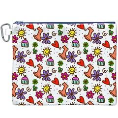 Doodle Wallpaper Canvas Cosmetic Bag (XXXL)
