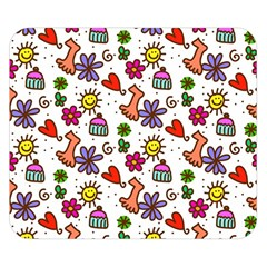 Doodle Wallpaper Double Sided Flano Blanket (Small)