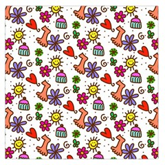 Doodle Wallpaper Large Satin Scarf (Square)