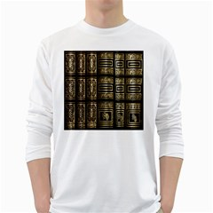 Detail Golden Gold Ornaments White Long Sleeve T-Shirts