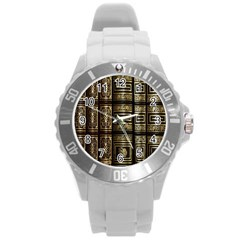 Detail Golden Gold Ornaments Round Plastic Sport Watch (L)