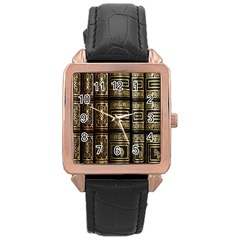 Detail Golden Gold Ornaments Rose Gold Leather Watch