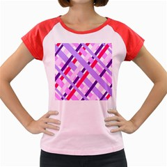 Diagonal Gingham Geometric Women s Cap Sleeve T-Shirt
