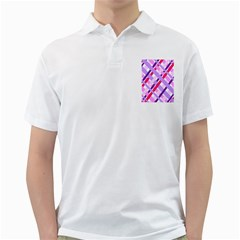 Diagonal Gingham Geometric Golf Shirts
