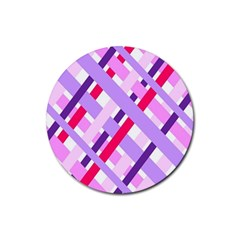 Diagonal Gingham Geometric Rubber Coaster (Round)