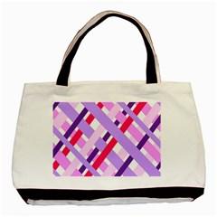 Diagonal Gingham Geometric Basic Tote Bag