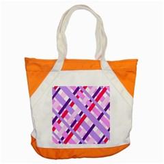 Diagonal Gingham Geometric Accent Tote Bag
