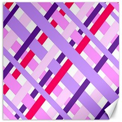 Diagonal Gingham Geometric Canvas 12  x 12