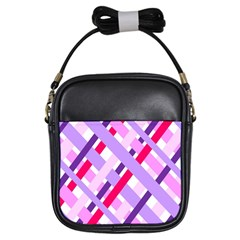 Diagonal Gingham Geometric Girls Sling Bags