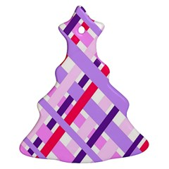 Diagonal Gingham Geometric Ornament (christmas Tree)