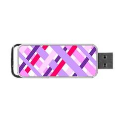 Diagonal Gingham Geometric Portable USB Flash (Two Sides)