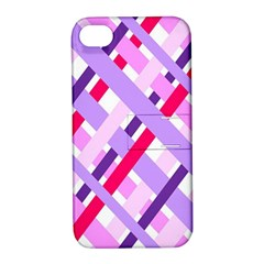 Diagonal Gingham Geometric Apple iPhone 4/4S Hardshell Case with Stand