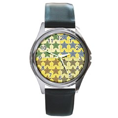 Pattern With A Stars Round Metal Watch