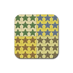 Pattern With A Stars Rubber Square Coaster (4 pack)