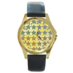 Pattern With A Stars Round Gold Metal Watch